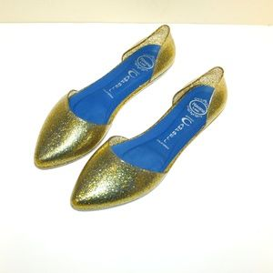 Jeffrey Campbell D'Orsay Jelly Flats Size 6 Gold